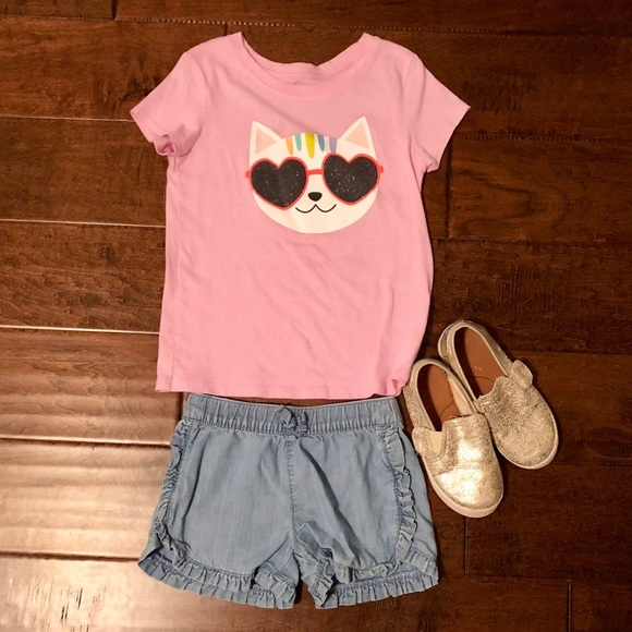 Cat & Jack Other - Cat & Jack Pink Cat Tee. Size 5T.